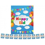 Happy Eid Cloud Party Theme Flags Pack of 10 Blue Color